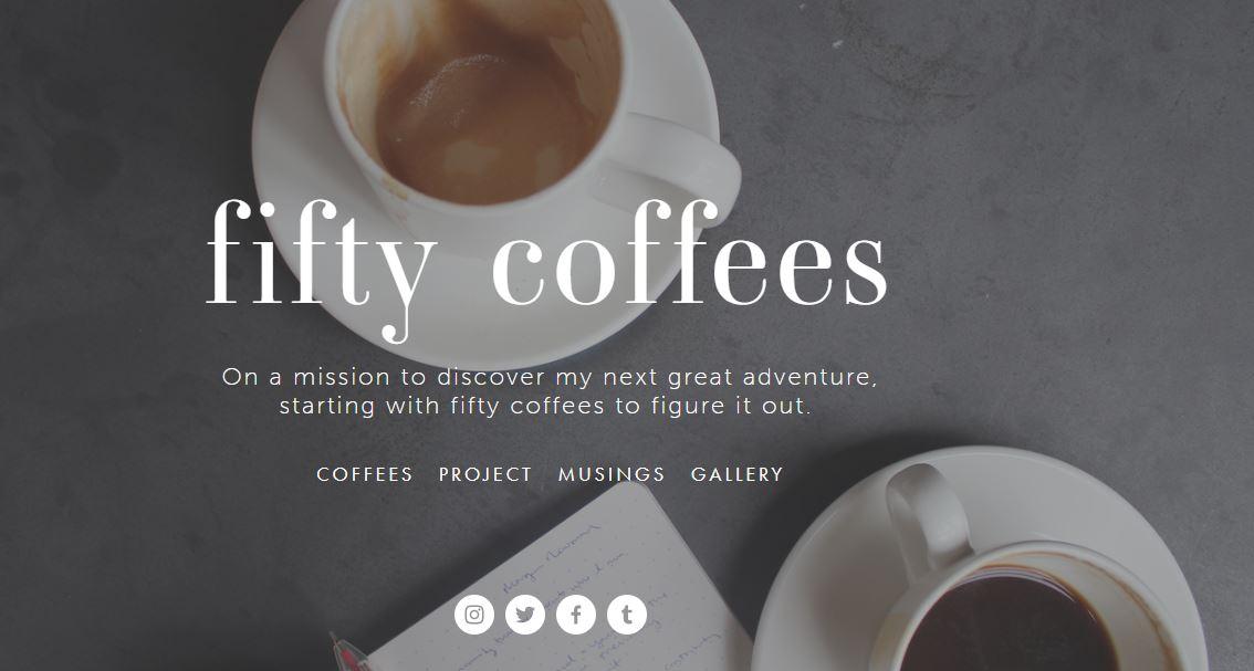 Ejemplo de sitio web con blog: fifty coffees