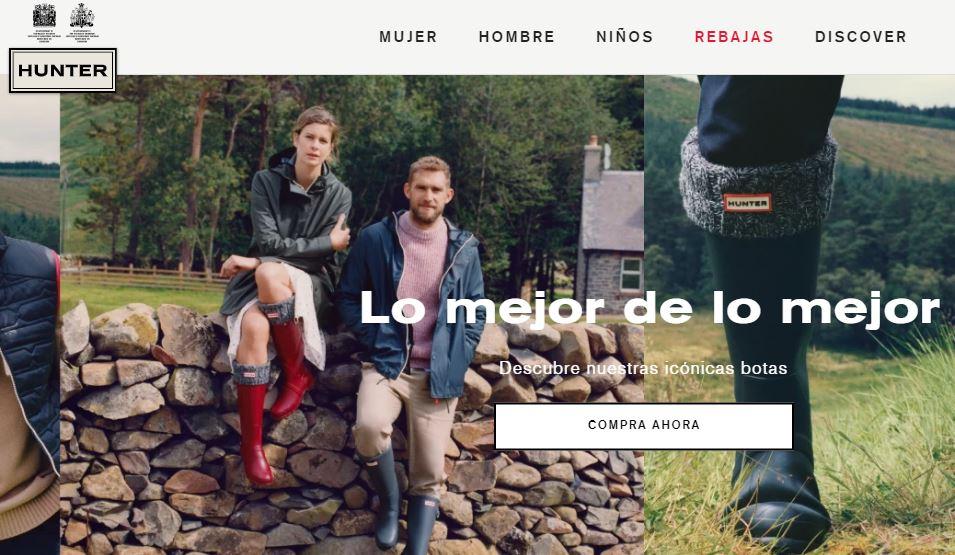 Ejemplo de página web de empresa original: Hunter Boots