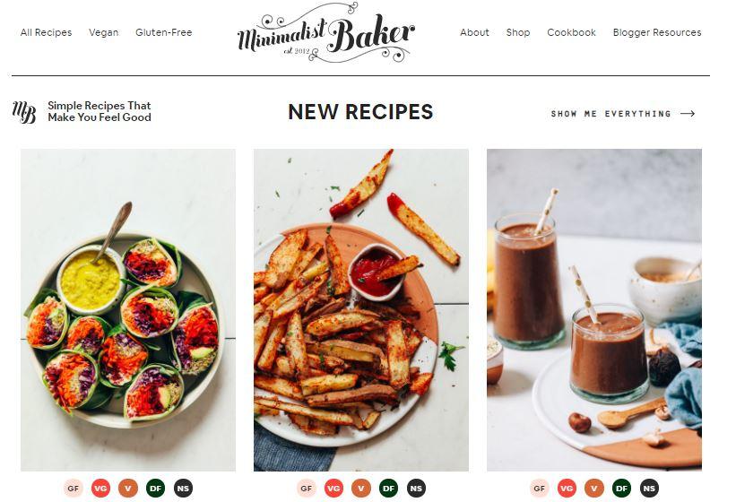 Ejemplo de página web original: Minimalist Baker