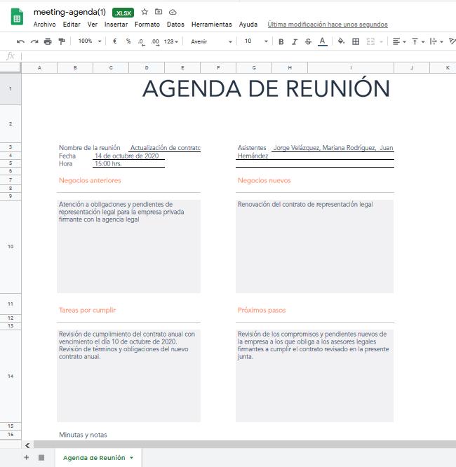 Ejemplo de agenda de reunión hecha con la plantilla de HubSpot