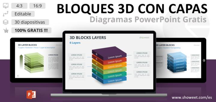 Plantilla gratis de PowerPoint con bloques 3D