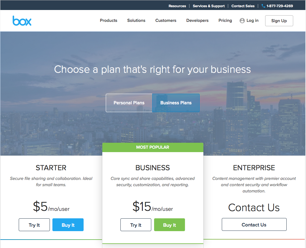 Página de precios para buena experiencia de usuario: Box