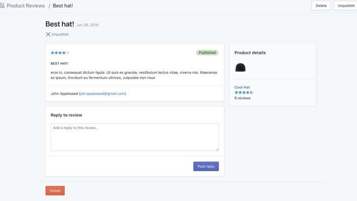 Product Reviews, aplicación para tiendas de Shopify