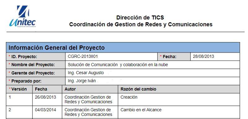 Ejemplo de project charter con información general del proyecto