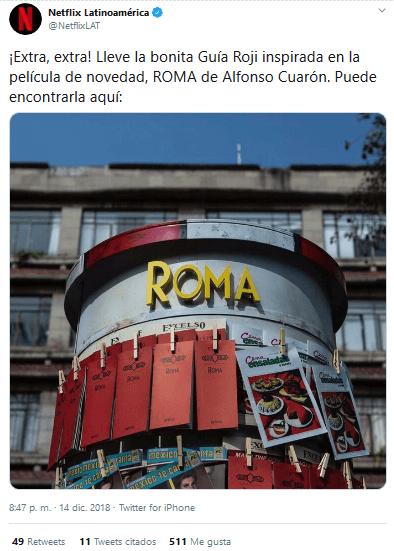 Ejemplo de estrategia publicitaria interactiva de Netflix a para promocionar la película Roma