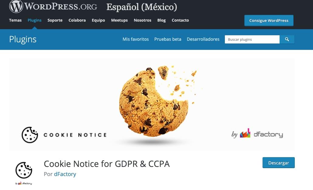 Herramienta Cookie Notice para crear avisos de políticas de cookies en WordPress