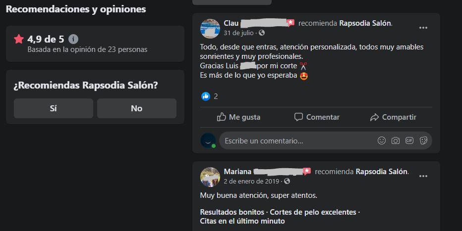 Cómo obtener reseñas positivas: Facebook de Rapsodia Salón