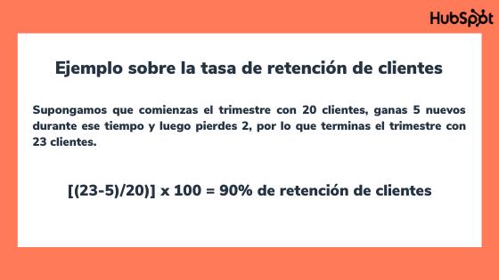Ejemplo para calcular la tasa de retención de clientes