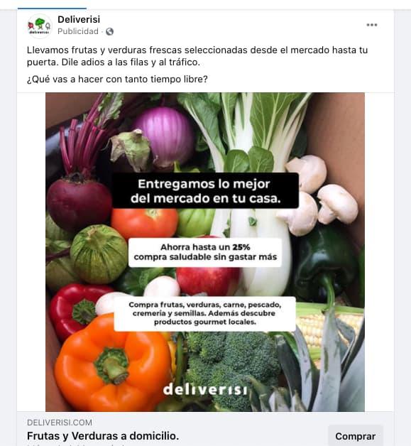 Ejemplo de segmentación de mercado efectiva: Deliverisi en Facebook