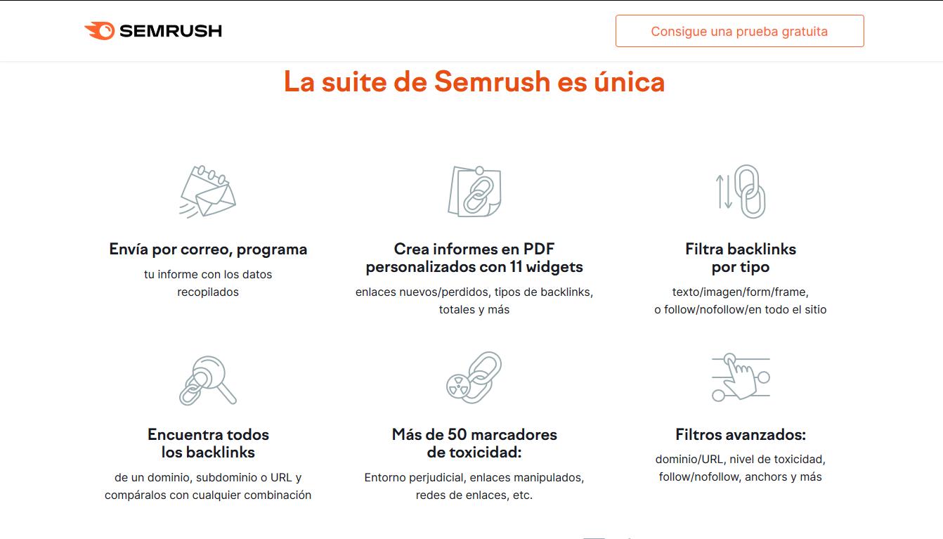 Suite de SEMRush con herramientas para link building