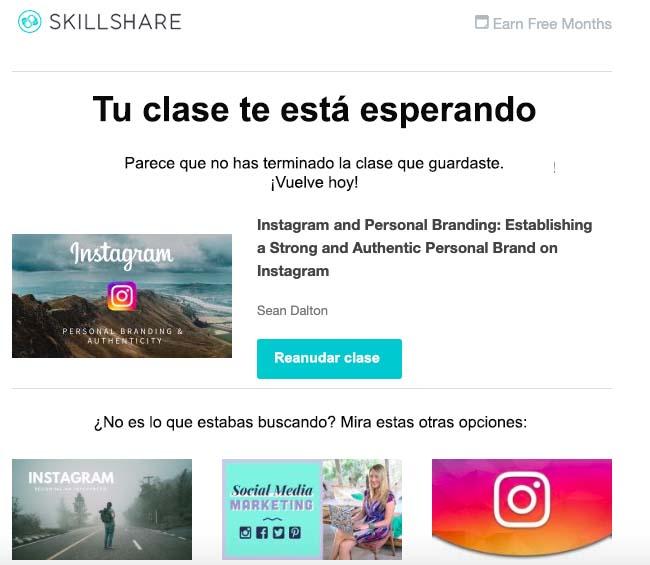 Ejemplo de correo de Skillshare para reorientar a un cliente al carrito de compra