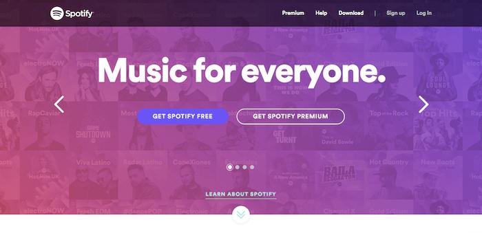 Ejemplo de diseño para buena experiencia de usuario: Spotify