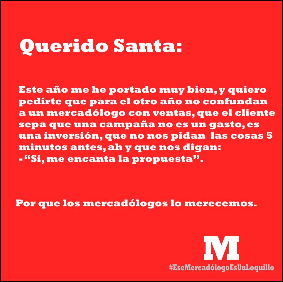 Tarjeta de Navidad para marketeros: petición a Santa