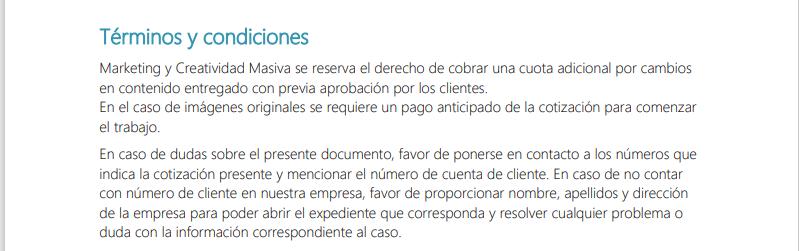 Ejemplo de la sección de términos y condiciones en la plantilla de HubSpot para hacer cotizaciones