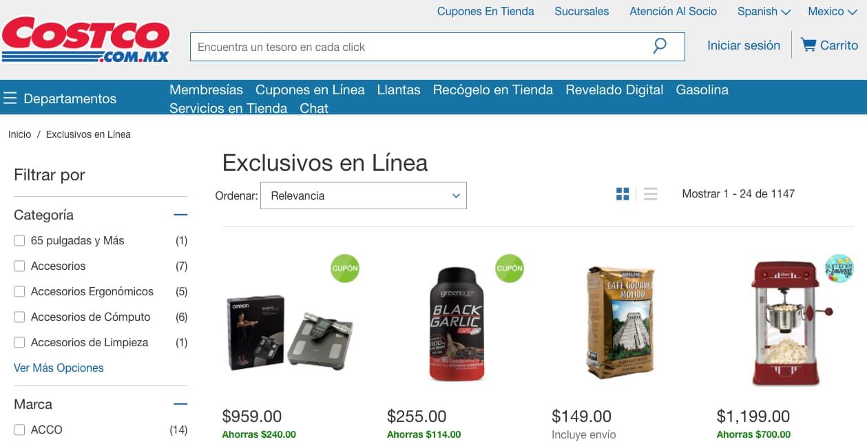 Promoción de Costco para incentivar el uso de compra en línea