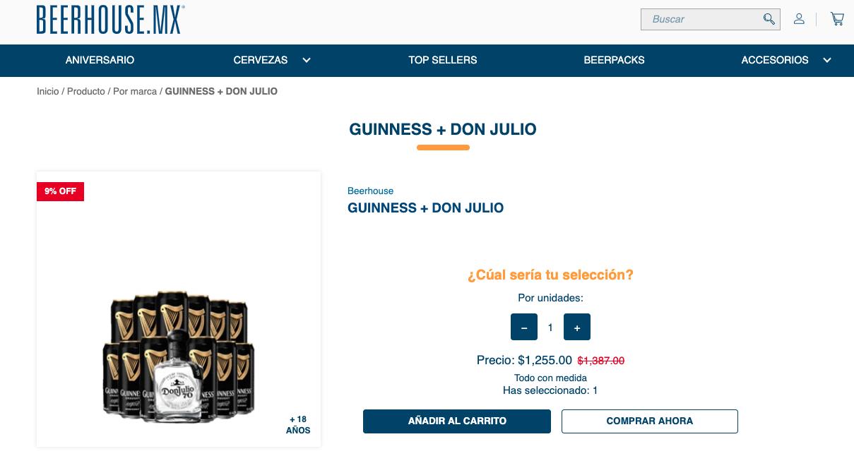 Descuento de Beerhouse en alianza con Guinness y Don Julio