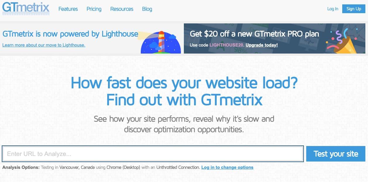 Herramienta para optimizar la velocidad de carga web: GTmetrix