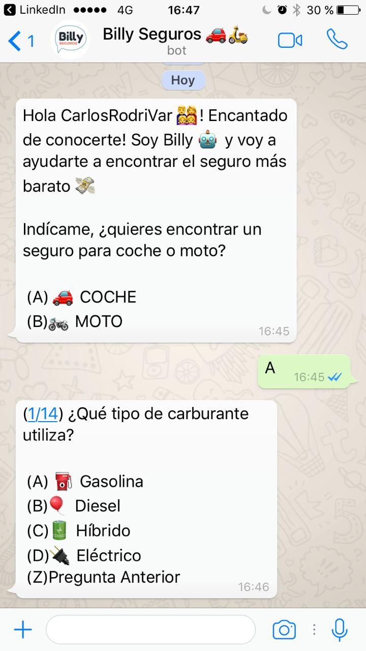 Ejemplo de WhatsApp bot de Billy Seguros