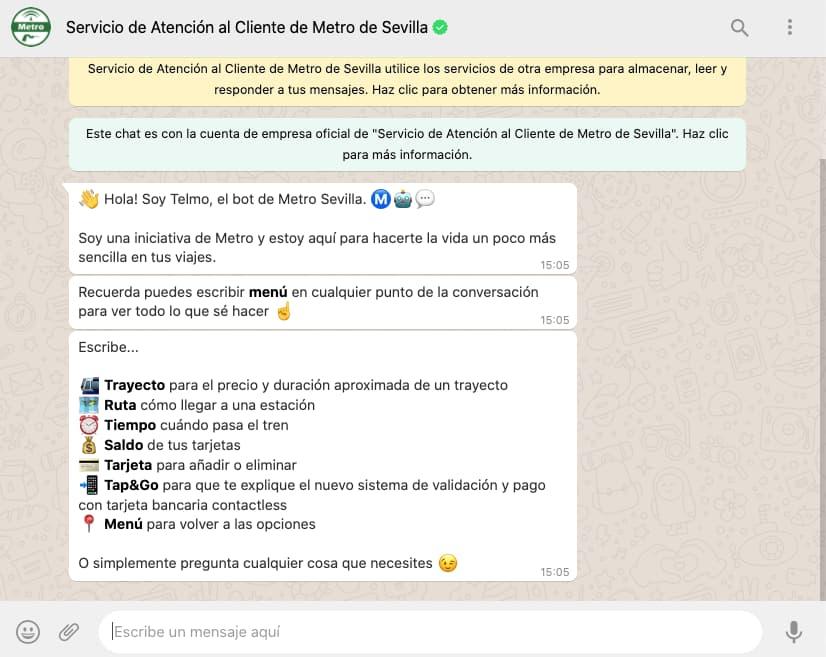 Ejemplo de WhatsApp bot: Metro de Sevilla