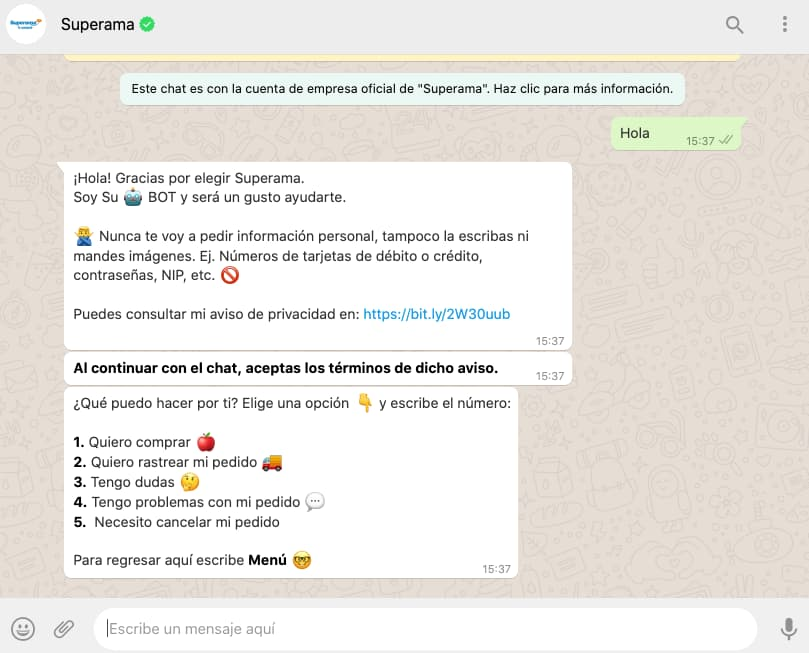 Ejemplo de WhatsApp bot de Superama