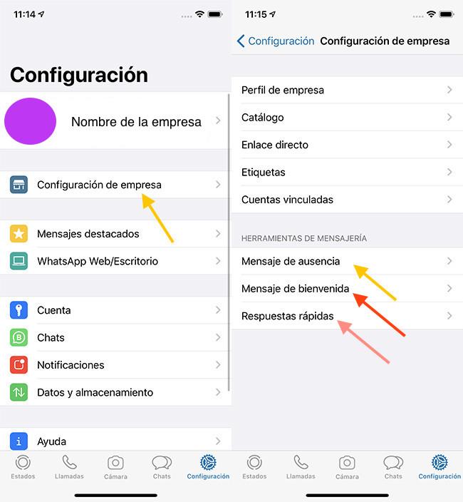Cómo programar respuestas automáticas en iOS:  ingresa a la configuración de WhatsApp bot de WhatsApp Business